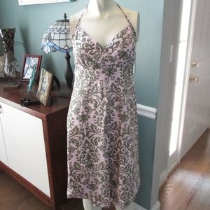Tommy Bahama Pink Green Halter Dress Small 4 6